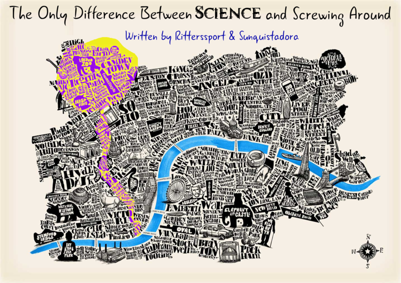 Text map of London with title text