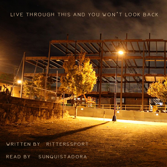 construction site at night with title text